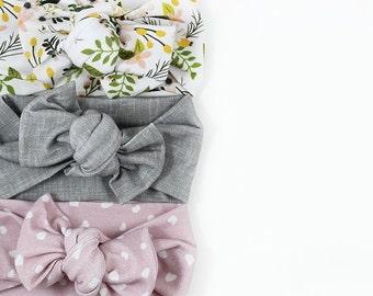 Spring Headband Set, Baby Knot Headband Set, Flower Headband, Linen Headband, Polka Dot Headband, Baby Accessory, Top Knot, Knotted Headband