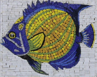 """15""""x12"""" Colorful Blue and Yellow Fish Decor Art Marble Mosaic AN1236"""