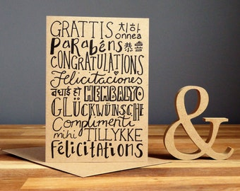 Congratulations card with many languages