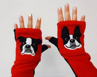 Boston Terrier Personalized Fingerless Gloves with Pockets. Uniquie Gift for Dog Lovers.