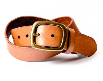 Honey Color Leather Belt with Solid Brass Buckle, bold belt for men and casual belt for women. Belt for jeans or denim. Made in USA.