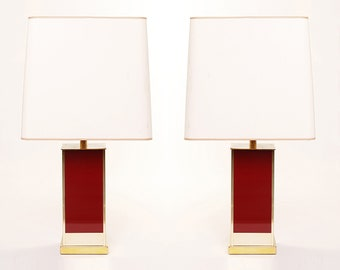 Jean Claude Mahey For Roche & Bobois Table Lamps Hollywood Regency