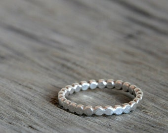 Flat Beaded Sterling silver ring - stackable ring - Made To Order