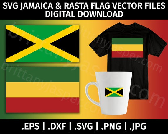 Jamaika & Rasta Flagge SVG Vektor Clip Art Cutting-Dateien