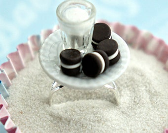 oreos and milk ring-cookies ring, miniature food ring