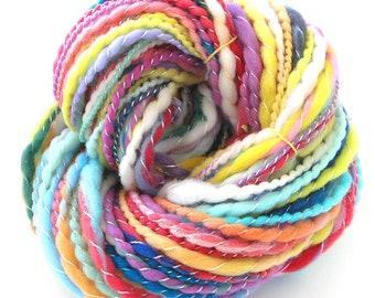 Handspun Yarn Soft Merino Wool Tencel Hand Dyed Art Yarn Super Bulky Chunky Yarn 179 yards Pastel Yarn Hand Made in USA - Follow the Rainbow