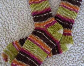 Socks, Hand Knit Fun Stripes Wool Socks, Ready To Ship