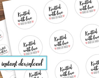 printable stickers, knitted with love, knit gift stickers, avery round labels, pink, black, white, knit, knitter, dog lovers, cat lovers