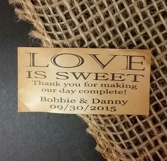 """Love is Sweet Thank you for making our day Complete Favor 1.25"""" x 2.25"""" STICKER choose your amount"""