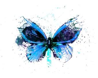 Butterfly Art Print Blue Alternative Gift Idea Wall Decor Abstract Home Idea Signed Digital Print Vibrant