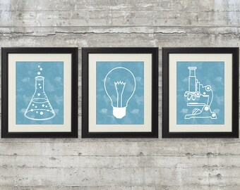 Nerdy Science Art  -  set of 3- 8x10 Instant Download Printables with scientist's tools for science themed bedroom or nursery