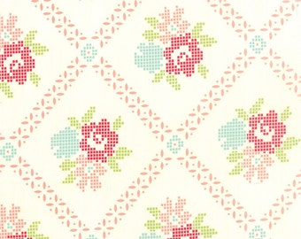 Vintage Picnic - Mayberry Mum in Cream Coral by Bonnie & Camille for Moda Fabrics
