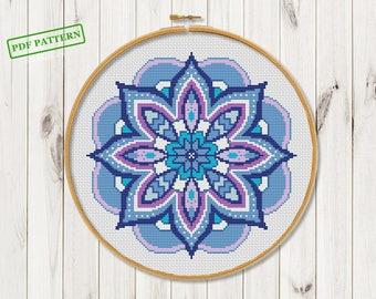 Blue Mandala  Cross Stitch Pattern  Modern Cross Stitch  Mandala Xstitch chart  Geomrtric Counted Cross Stitch PDF Instant download