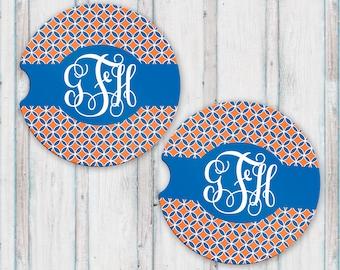 Personalized Monogram Sandstone Car Coasters Monogram, Orange and Blue, Florida Gifts, Monogram Car Coasters, Personalized Car Coasters