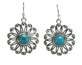 Pair of Sterling Silver Flower Earrings with Blue Arizona Turquoise ARRSDE-1843556