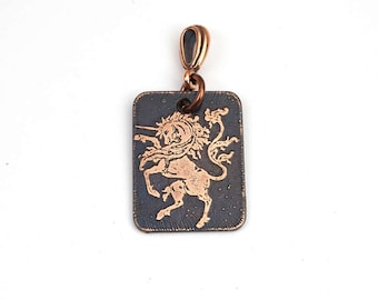 Copper unicorn pendant, small flat rectangular etched metal jewelry, optional necklace, 25mm