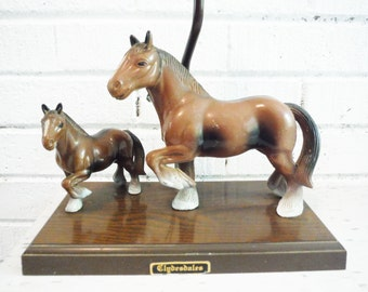 Shabby horse lamp clydesdale budweiser beer equestrian cowboy mid century vintage