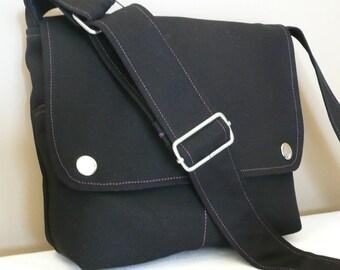 Messenger bag, Shoulder bag, cross-body, Black canvas with Purple lining ,adjustable strap...MINI CITY...