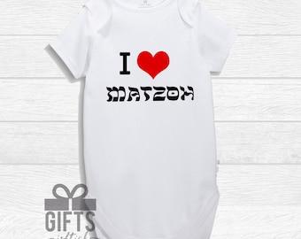 First Passover Onesie - I Love Matzoh - Passover Bodysuit - Baby's First Pesach  - Bespoke Passover - Hebrew - matzah - Passover Infant