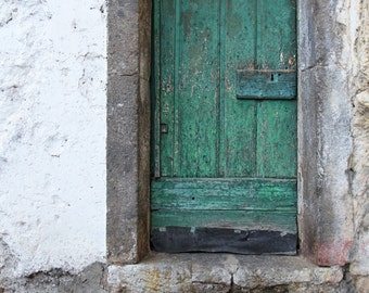 Amalfi Coast, Italy, green door, rustic home decor, Italian architecture, Italy home decor, fine art photography, 8x10, travel art print