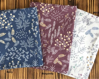Cotton Fabric in 3 Colors By The Yard