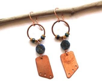 Geometric Copper and Lapis Earrings (E1313)
