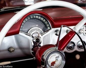 Red Corvette, Chevy Corvette, Car Photography, Car Photo, Classic Car Photo, Automobile Photo, Corvette, Photo, 57 Corvette Dash, Wall Art