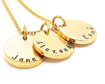 Hand Stamped Necklace Personalized Necklace Hand Stamped Jewelry Personalized Jewelry Handstamped Necklace Mothers Necklace Tripple Gold
