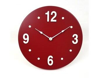 Wood wall clock. Red wall clock. Modern wall clock. Contemporary wall clock. 13 inch diameter wall clock. CL5039