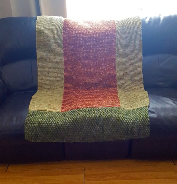 Pure wool blanket - Pure wool  - Knitted blanket - knitted throw - wool throw - green blanket - green throw - brown blanket - bed cover