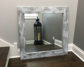 GRAY WHITEWASH Mirror, Grey Decor, Vanity Mirrors, Bathroom Mirrors, Mirrors, Rustic, Wood Framed Mirrors, Handmade Wedding Mirrors, Gift