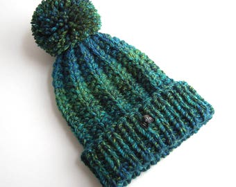 Hand Knit Hat. Womens, Mens or Kids Chunky Knit Beanie. Hand Knitted Premium Acrylic. Lime or Variegated Blue/Green Large Detachable Pom Pom