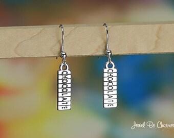 Sterling Silver Chocolate Bar Earrings Fishhook Earwires Solid .925