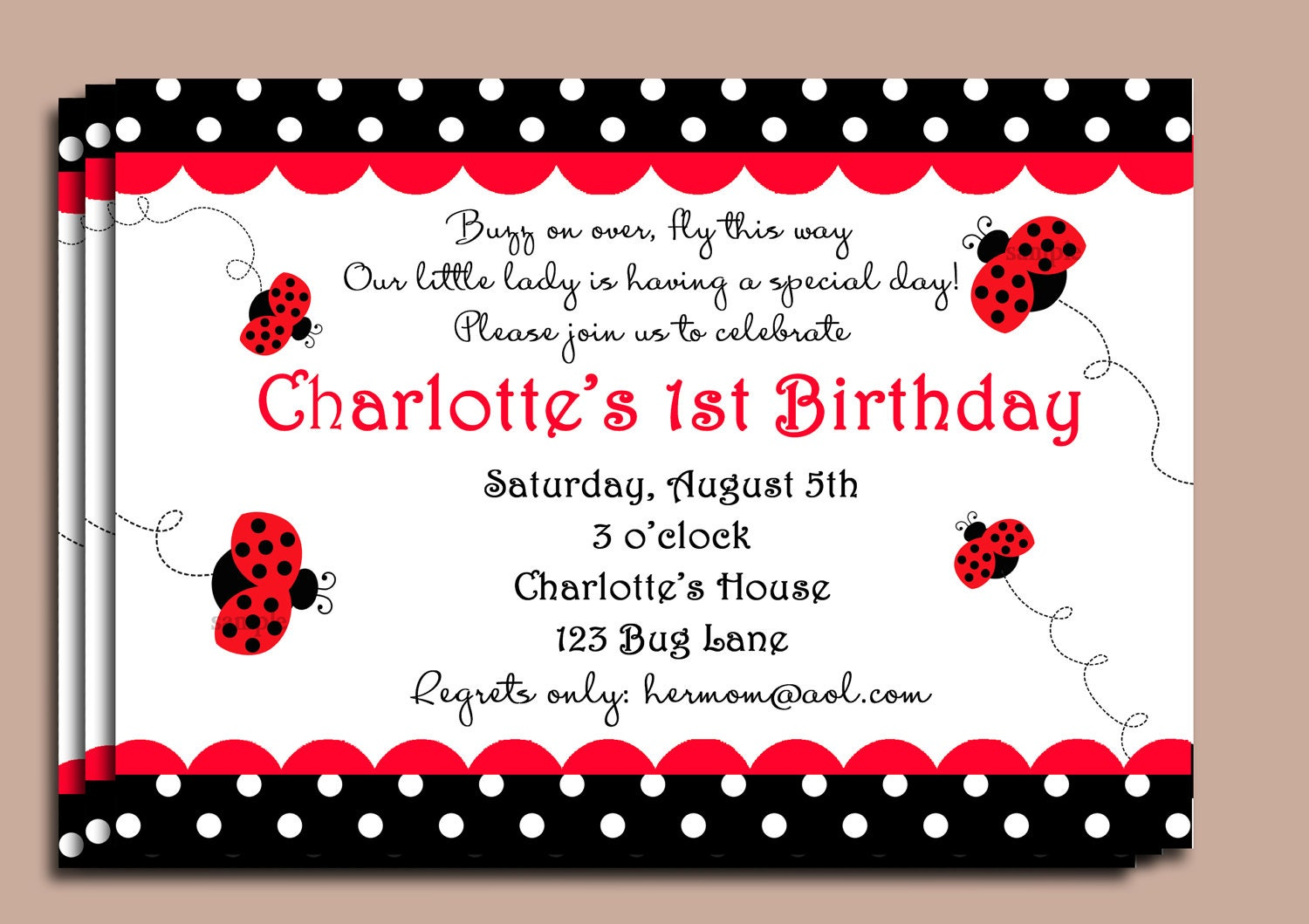 Red Ladybug Invitation or Printed with FREE SHIPPING