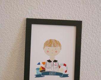 Little Sailor Print. Little Sailor Boy Wall Art