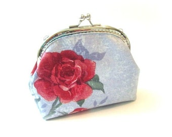 Frame purse red rose on blue cotton kiss lock bag, silver frame clutch bag blue frame coin purse red flower snap coin pouch, makeup bag