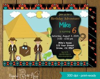 Explorer Birthday Invitation for Boys - Adventure Birthday Party - Treasure Hunt PRINTABLE INVITATION
