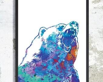 Bear Watercolor Art Print Bear poster Grizzly Bear Painting Woodland Animal Bear Illustration Forest animal bear wall art decor