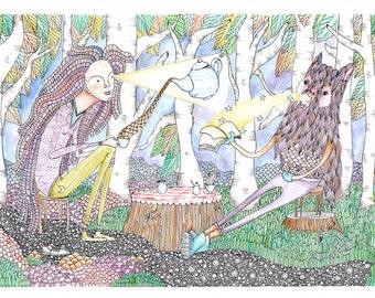 Tea party art print, Magical Woodland Nursery Art print, gifts for her, kids Woodland Art,Forest Art,Art Print Nursery, Watercolour Nursery,