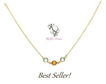 Birthstone Necklace, 14k Gold Filled Necklace, Mom Gifts, Birthstone Jewelry, Gold Mothers Necklace, Mothers Jewelry, Mothers Day Gifts