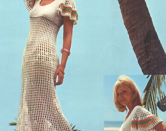 Vintage 1970s Crochet Open work Maxi Dress with Flare Sleeves and Bikini Panties Pattern PDF 7310 Bust 32 33 34 XS S Size Extra Small