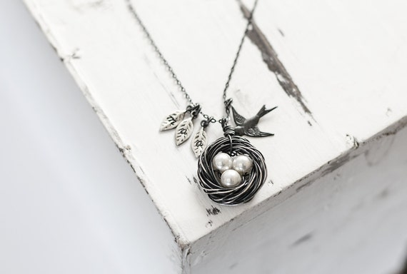 Oxidized Silver Bird Nest Necklace | 1 2 3 4 5 White Pearls | Hand Stamped Initial Leaves | Handmade Sparrow Nest | Blackened Silver Ox