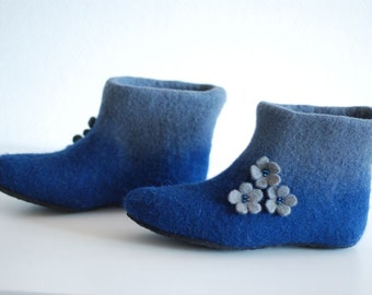 Wool shoes, felted slippers, felt boots in dark blue with flowers, custom colors, any sizes HANDMADE TO ORDER