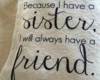 A beautiful personalized throw blanket for your sister! Perfect gift for bridesmaids, personalize it!