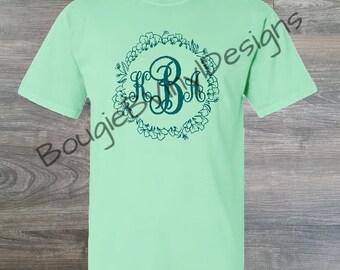 Custom Floral Southern Monogram Shirt/Gift