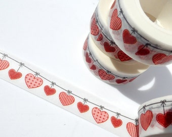 Hearts on a String Washi Tape - Paper Tape Great for Scrapbooking Paper Crafts and Decorations - Valentines Day Cute Love 15mm x 10m