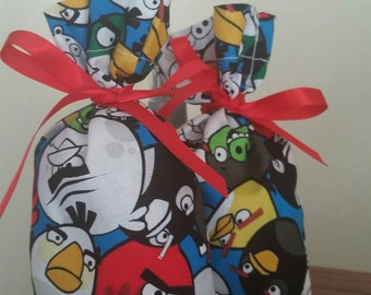 12 Angry Bird inspired Favor Bag - mix and match colored ribbon