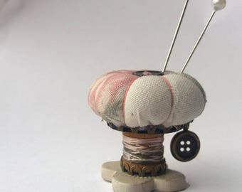 """Pincushion Ornament, Sewing Accessory """"Pink Rose"""""""