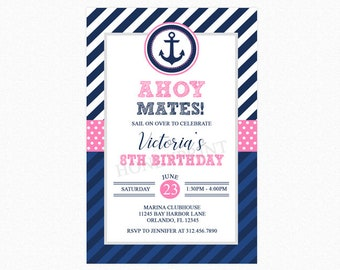 Nautical Birthday Invitation, Nautical Birthday Party, Nautical Birthday Invite, Pink, Blue, Personalized, Printable or Printed Invitations