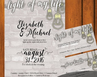 Light of My Life Wedding / Industrial Wedding Suite / Lightbulb Wedding Invitation / Industrial  / White/ Modern / Brick / Wedding